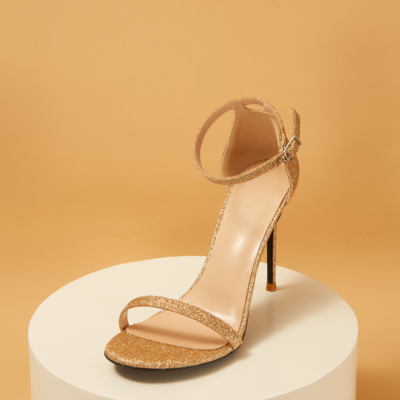 Golden Glitter Open Toe Ankle Strap Sexy Stiletto Heel Sequined Sandals