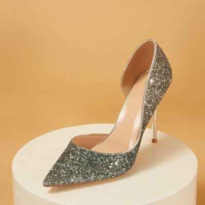 Up2step Silver Glitter Pointed Toe D'orsay Stiletto Heel Pumps