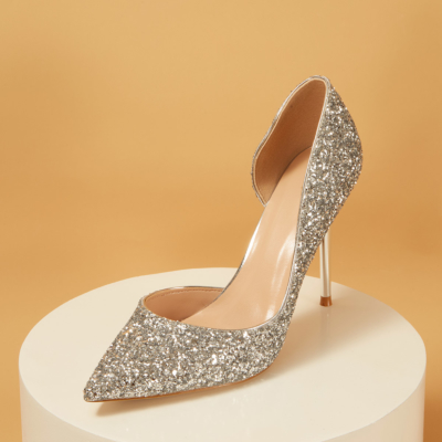 Up2step Silver Glitter Pointed Toe D'orsay Stiletto Heel Sequin Pumps