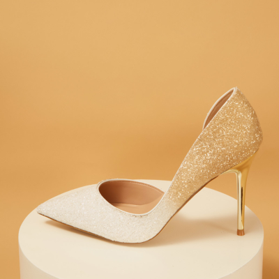 Up2step White&Gold Gradient Glitter Pointed Toe D'orsay Stiletto Heel Pumps