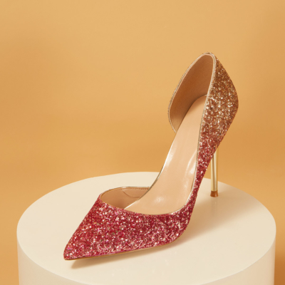Up2step Magenta Gradient Glitter Pointed Toe D'orsay Stiletto Heel Sequin Pumps