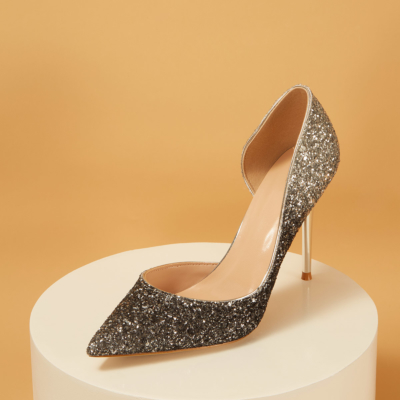 Up2step Glitter Pointed Toe D'orsay Stiletto Heel Sequin Pumps for Wedding