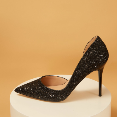 Up2step Black Glitter Pointed Toe D'orsay Stiletto Heel Sequin Pumps