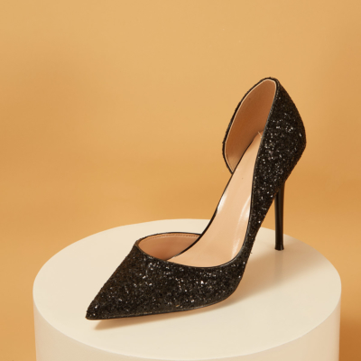 Up2step Black Glitter Pointed Toe D'orsay Stiletto Heel Pumps