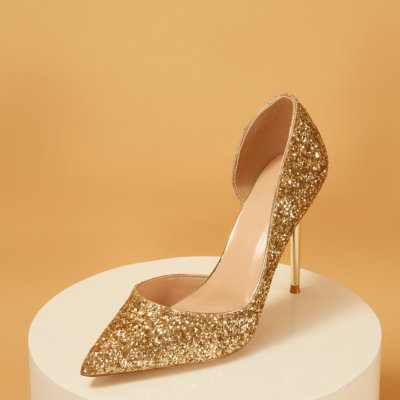 Up2step Golden Glitter Pointed Toe D'orsay Stiletto Heel Pumps
