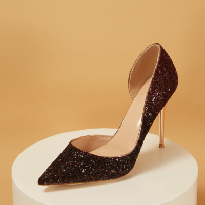 Up2step Burgundy Glitter Pointed Toe D'orsay Stiletto Heel Sequin Pumps