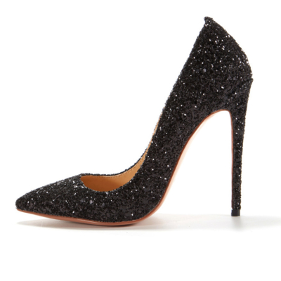Black Glitter Wedding 2021 Stiletto High Heel Pointed Toe Pumps Shoes