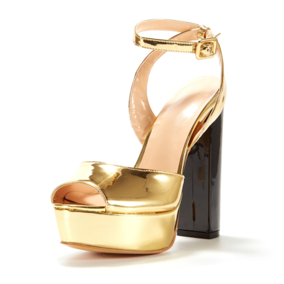Gold Metallic Peep Toe Block Heel Platform Buckle Sandals with Ankle Strap
