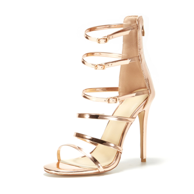 Gold Multi-Strap Gladiator Sandals Stiletto Heels Back Zip Hollow Out Shoes