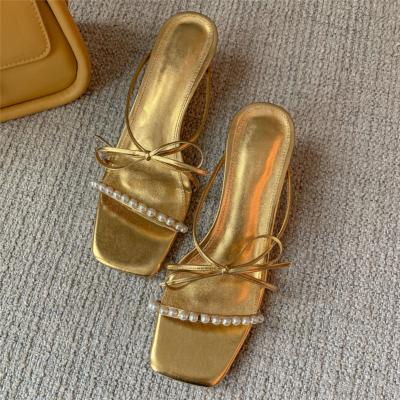 Golden Bow Pearls Slide Sandals Low Heel Metallic Party Sandal