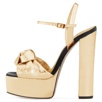 Gold Metallic Knotted High Block Heel Platform Sandals Ankle Strap Wedding Shoes
