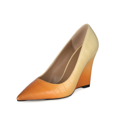 Yellow Gradien Wedding Wedge Shoes Croc-printed Heeled Pumps with Pointed Toe