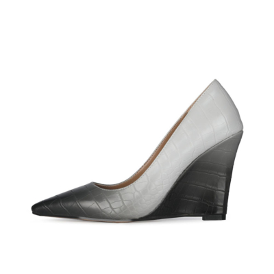 Black&Grey Gradien Wedding Wedge Shoes Croc-printed Heeled Pumps with Pointed Toe
