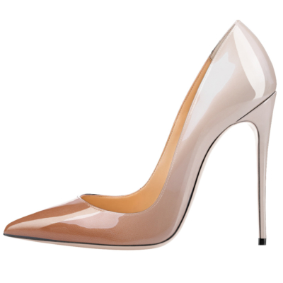 Nude&Grey Gradient High Heels Shoes Pointed Toe 2021 Pumps