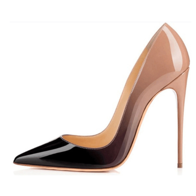 Nude&Black Gradient High Heels Shoes Pointed Toe 2021 Pumps
