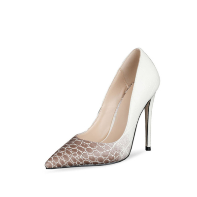 Brown and White Gradient Snake Print Stiletto High Heel Pumps Dress Shoes with Closed Toe