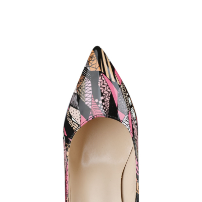 Pink Graffiti Pointed Toe PU Pumps Womens Shoes with 100mm High Heels