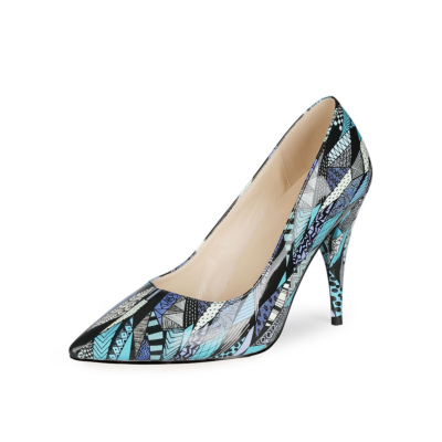 Blue Graffiti Pointed Toe PU Pumps Womens Shoes with Stiletto Heels