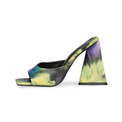 Yellow Graffiti Square Toe Slide Party Sandal High Heels PU Mule Sandals