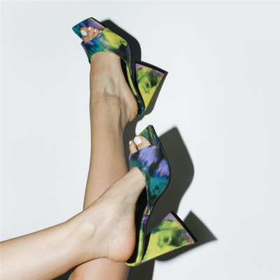 Neon Lime Graffiti Square Toe Slide Party Sandal High Heels PU Mule Sandals