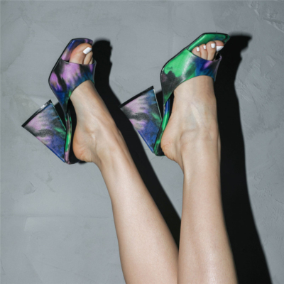 Green Graffiti Square Toe Slide Party Sandal High Heels PU Mule Sandals