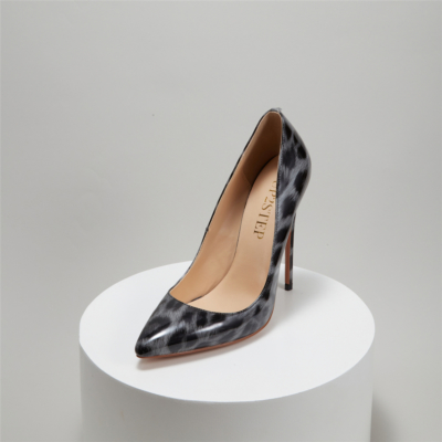 Grey Patent Leather Leopard Prints Pointed Toe Stiletto Heel Pumps