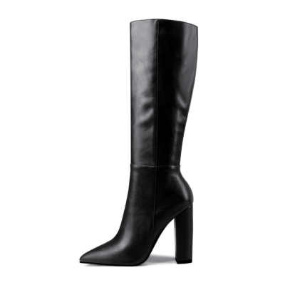 Black Pointy Toe Heeled Dress Mid Calf Boots Knee High Boot