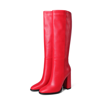 Red Round Toe Heeled Dress Mid Calf Boots Knee High Boot