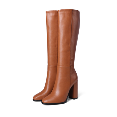Brown Round Toe Heeled Dress Mid Calf Boots Knee High Boot