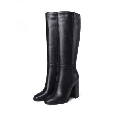 Black Round Toe Heeled Dress Mid Calf Boots Knee High Boot