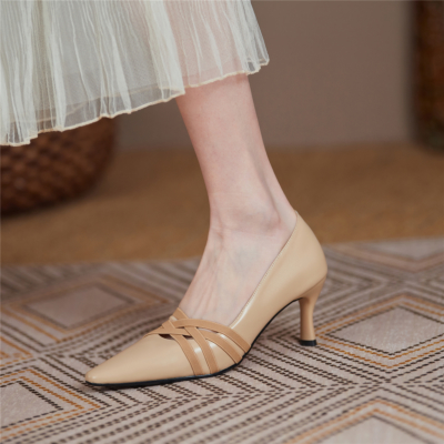 Nude Hollow-out Vamp Pumps Stiletto Low Heel Work Shoes for Ladies