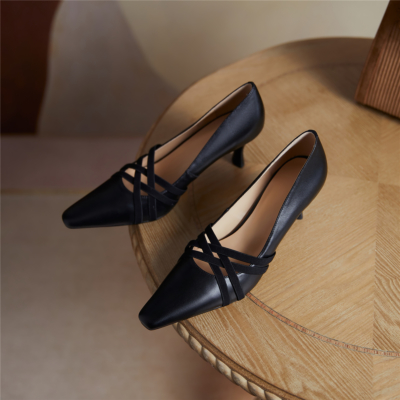 Black Hollow-out Vamp Pumps Stiletto Low Heel Work Shoes for Ladies