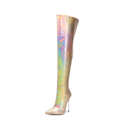 Holographic Heeled Thigh High Boots Wide Calf Zipper Stiletto Boots