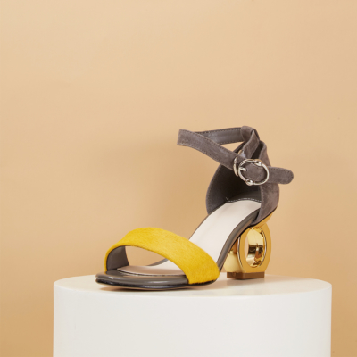 Yellow Horsehair Open Tote Ankle Strap Sculptural Heels Sandals