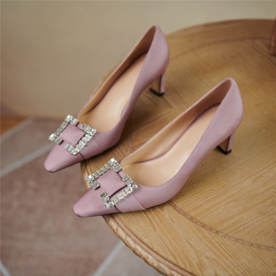 2021 New Arrival Purple Satin Rhinestone Heels Wedding Shoes