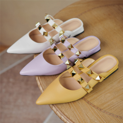 2021 Trend Colors Leather Rivets Pointed Toe Mary Jane Flats Mules