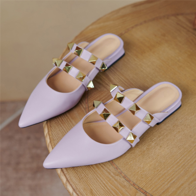 2021 Trend Colors Purple Leather Rivets Pointed Toe Mary Jane Flats Mules