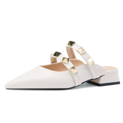 2021 Trend Colors White Leather Rivets Pointed Toe Mary Jane Flats Mules