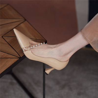 Kitten Low Heels D'orsay Leather Dresses Pumps with Pearls Strap