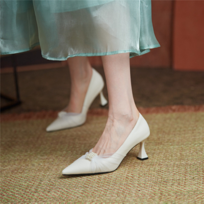 White Leather Kitten Heels Pearls Mesh Pointed Toe Pumps for Work