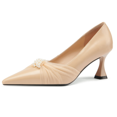 Leather Kitten Heels Pearls Mesh Pointed Toe Pumps for Work