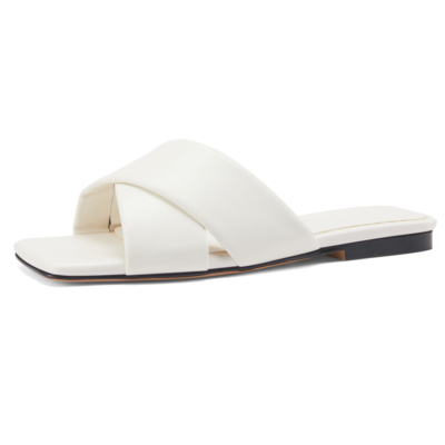 2021 Spring New Arrival White Flat Mules Woven Leather Flat Sandals
