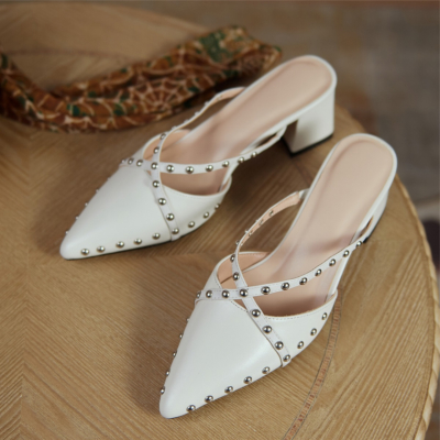 New Arrival White Rivets Mules Cross Strap Pointy Toe Heels