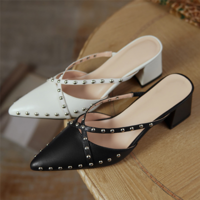 New Arrival Rivets Mules Cross Strap Pointy Toe Heels