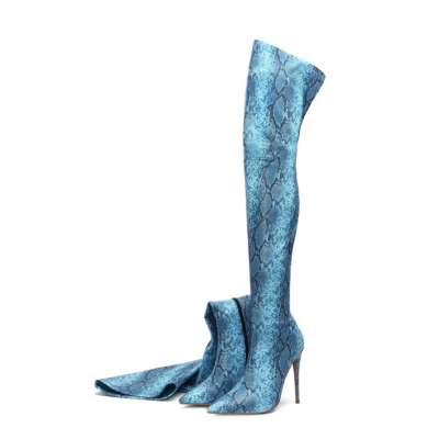 Blue Fashion Snake Embossed Pointed Toe Stilettos Over-the-knee Boots