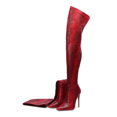 Red Fashion Snake Embossed Pointed Toe Stilettos Over-the-knee Boots