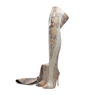 Python Embossed Pointed Toe Stilettos Over-the-knee Boots-style13