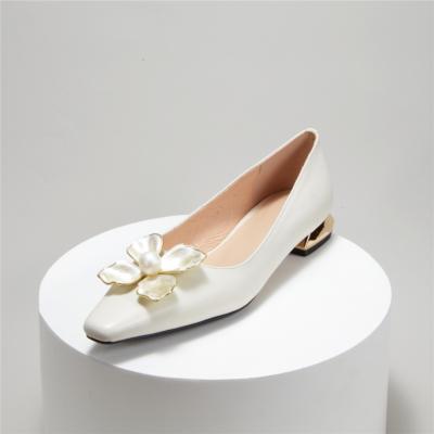 Dresses Leather Metallic Low Heels Flower Sqaure Toe Spring Pumps