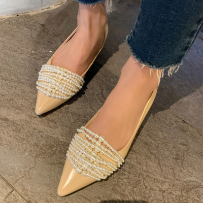 2021 Spring Arrival Nude Pearl Leather Pointed Toe Flats-style2