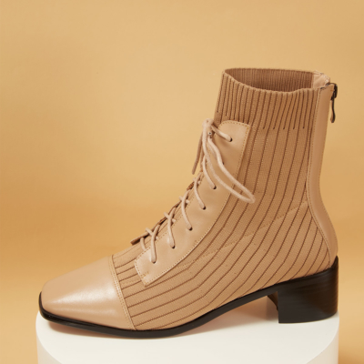 Knit&Leather Square Toe Lace-up Back Zip Ankle boots